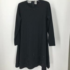 Liz Claiborne Black Knit Beaded Accent Dress